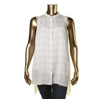 Eileen Fisher Womens Plus Silk Plaid Tunic Top - 1X