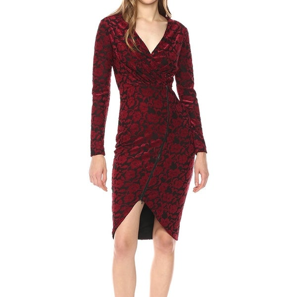 Rachel Rachel Roy Red Women Small S Floral Faux-Wrap Sheath Dress