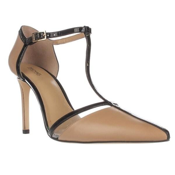 MICHAEL Michael Kors Samantha T-Strap Sandals, Nude/Black - 10 us / 41 eu