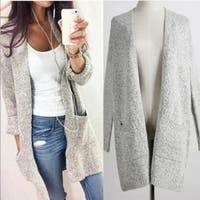 Womens Loose Solid Color Sweater Cardigan Winter Autumn
