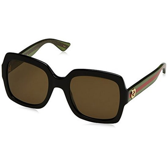8695e0d0c41ad Shop Gucci Womens Square Sunglasses - Black Green  Red Brown - OS - Free  Shipping Today - Overstock - 20004443