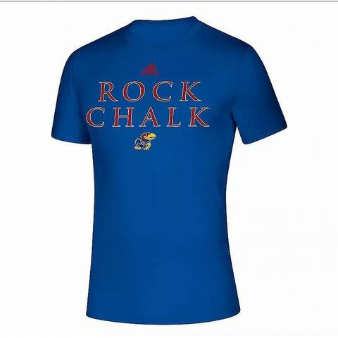 Adidas Mens T-Shirt Blue Size Large L Kansas Jayhawks Graphic Tee