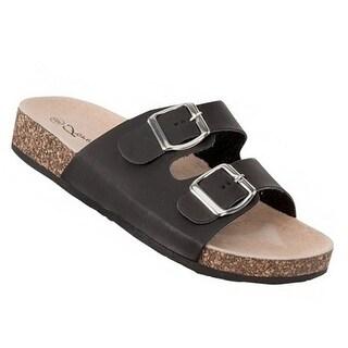 Adult Black Double Adjustable Buckle Strap Cork Slipper Sandals