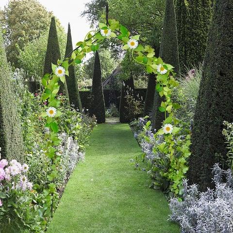 Costway 8'4'' High x 4'7'' Wide Steel Garden Arch Rose Arbor Climbing Plant Outdoor Garden