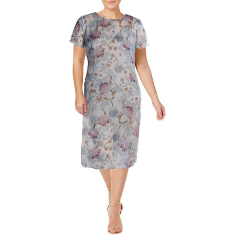 Vince Camuto Womens Plus Poetic Blooms Midi Dress Floral Print Overlay - Soft Bluebell