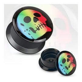 Rainbow Skull Print Black Acrylic Flat Screw Fit Plug (Sold Individually)