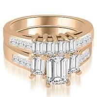 2.50 cttw. 14K Rose Gold Channel Princess and Emerald Cut Diamond Bridal Set