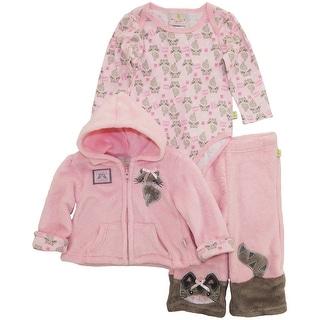 Duck Goose Baby Girls Cute Foxy Lady Sherpa Jacket Bodysuit 3Pc Pant Set