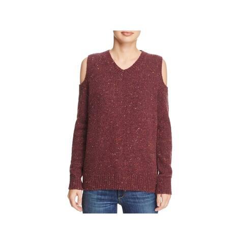 Rebecca Minkoff Womens Sweater Marled Ribbed Trim - Maroon - L