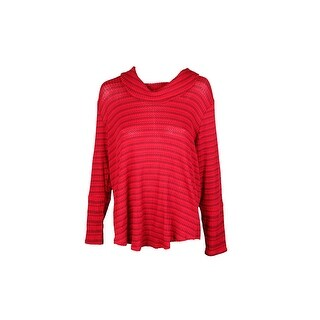 Style & Co Plus Size Red Cowl-Neck Waffle-Knit Striped Sweater 1X