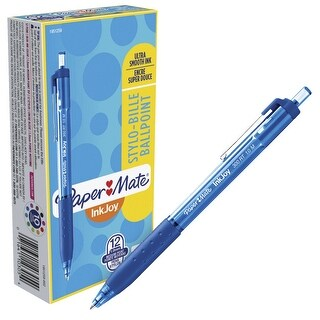 Paper Mate Inkjoy Ballpoint Stylo Pens, 1.0mm, Blue, Box of 12