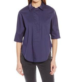 Anne Klein NEW Blue Women's Size 12 Dolman Sleeve Button Down Shirt