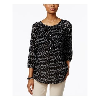 Link to AMERICAN LIVING Womens Black Geometric 3/4 Sleeve Top  Size S Similar Items in Tops