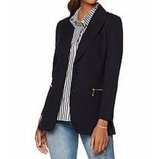 DG2 By Diane Gilman NEW Dark Blue Womens Size Small S Zip-Pocket Blazer