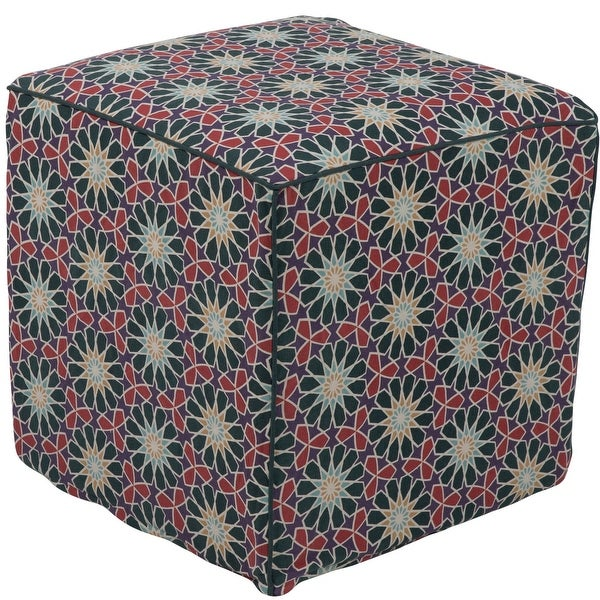 """18"""" Dark Green and Red Floral Patterned Cotton Square Pouf Ottoman - N/A"""