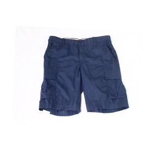 IZOD NEW Navy Blue Men's Size 34 Seaport Poplin Flat Front Shorts