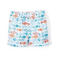 Azul Baby Boys White Fish Print Elastic Band Drawstring Swim Shorts - 18-24 months