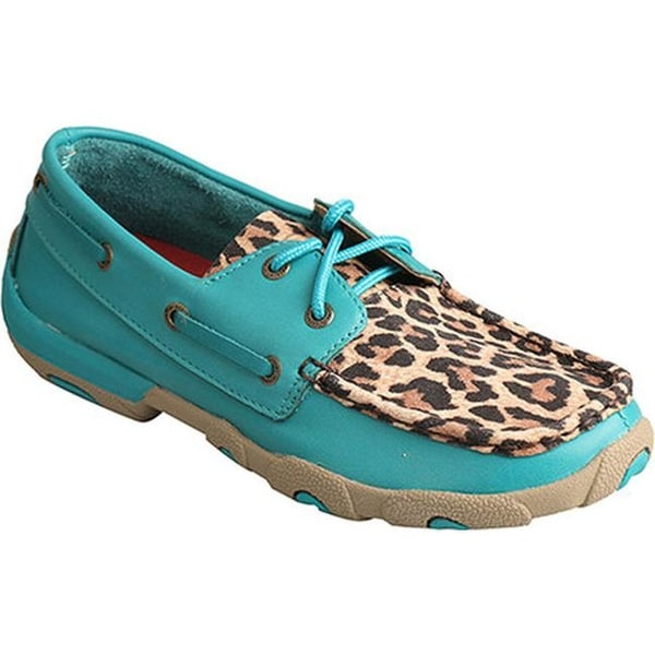 abeefaa42863 Shop Twisted X Boots Women's WDM0058 Driving Moc Turquoise/Leopard ...