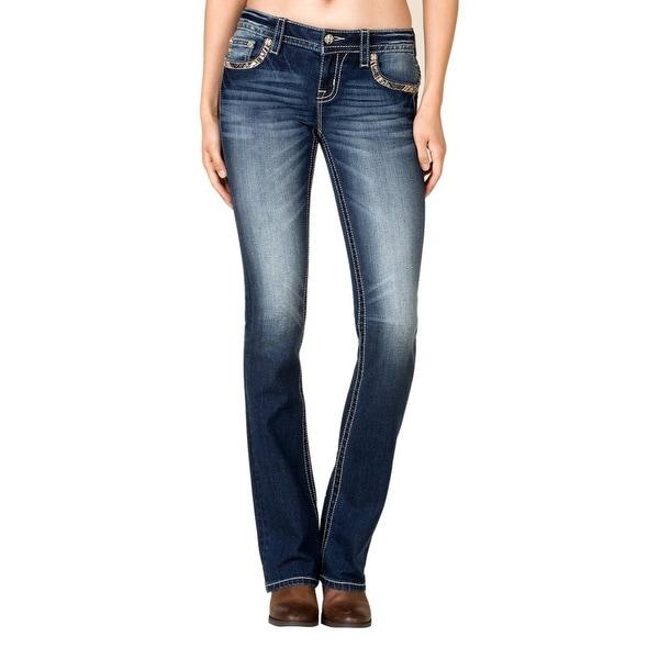Miss Me Denim Jeans Womens Southwest Flap Mid Rise Slim Boot MP7729SB