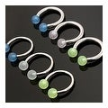 "Surgical Steel Horseshoe Circular Barbells with Glow in the Dark Balls - 14GA 1/2"" Long (Sold Ind.) - Thumbnail 0"