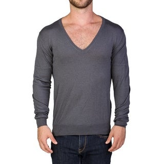 Prada Men's Wool Silk Blend V-Neck Sweater Grey