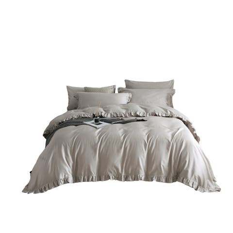 Grey Ruffle Duvet Cover, Fitted Bedding Set, 100% Cotton