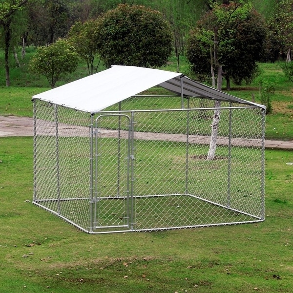 Pawhut Outdoor Chain Link Dog Kennel (10'x10')