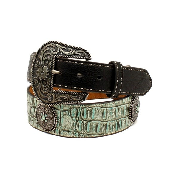 Nocona Western Belt Womens Concho Croco Leather Tapered Black