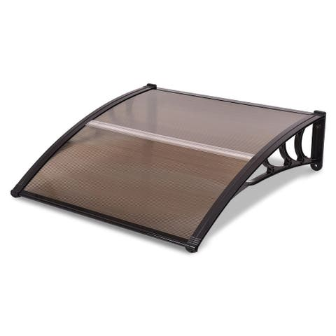 """40"""" x 40"""" Outdoor Polycarbonate Front Door Window Awning Canopy-Brown"""