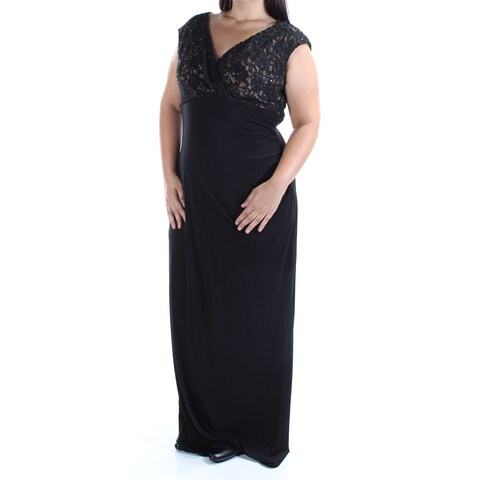 CONNECTED Womens Black Lace Sequined Cap Sleeve V Neck Full-Length Formal Dress Size: M