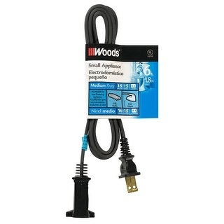 Woods 0292 HPN Cord for Heat Producing Polarized Appliances, Black