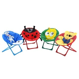 Costway Set of 4 Kids Saucer Chair Moon Chair Folding Round Seat With Animal Prints