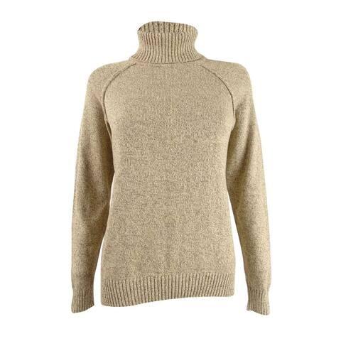 Karen Scott Women's Cotton Turtleneck Sweater (L, Chestnut Marble) - L