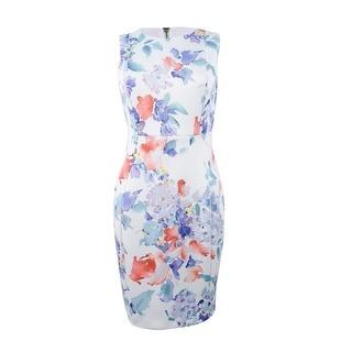 Calvin Klein Women's Sleeveless Floral Sheath Dress - Opal Multi
