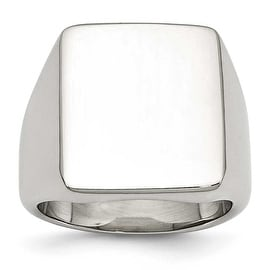 Chisel Stainless Steel Polished Rectangular Ring