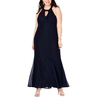 NW Nightway Womens Plus Formal Dress Textured Keyhole - Navy/Silver