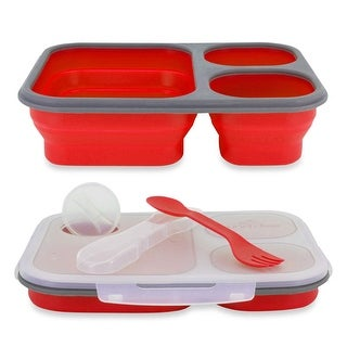 Lunch Kit, 3pc Meal Prep Containers Silicone Collapsible & Spork Utensil, Red