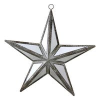"5.75"" Winter's Beauty Mirrored Five Point Star Christmas Ornament"
