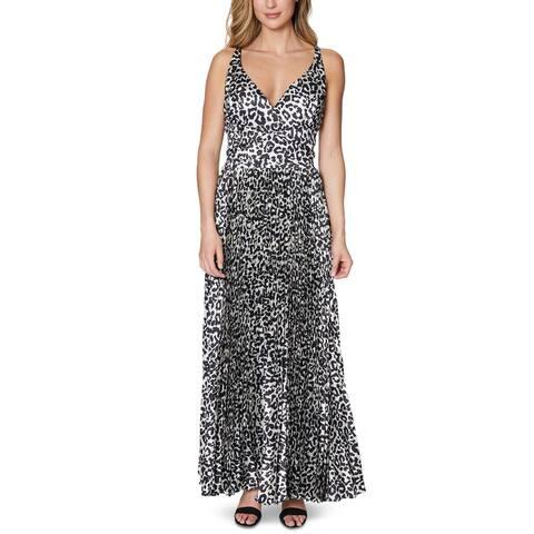 Laundry by Shelli Segal Womens Maxi Dress Animal Print Pleated - Neutral