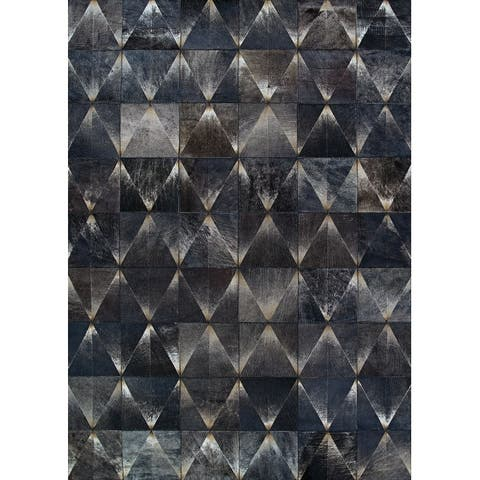 Handmade Vail Prism Cowhide Leather Area Rug