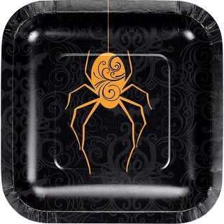 Pack of 12 Orange and Black Hanging Spider Printed Rounded Plate 7.125""