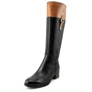 Franco Sarto Lizbeth Women Round Toe Leather Black Knee High Boot