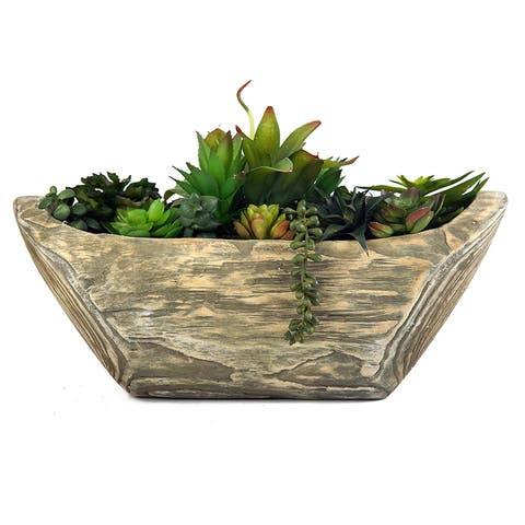 MODA MDW-1049-0451 Wood Pot with Plastic Plant - 19.29*7.48*11.81