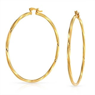 Bling Jewelry Large Twisted Yellow Gold Filled Hoop Earrings 2.25 Inch