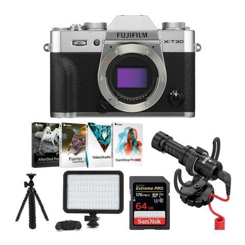 Fujifilm X-T30 Mirrorless Camera (Body Only, Silver) Vlogging Bundle