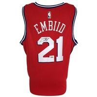 93c7dc3f9ec Shop Joel Embiid Signed Philadelphia 76ers Blue Nike Swingman Jersey ...