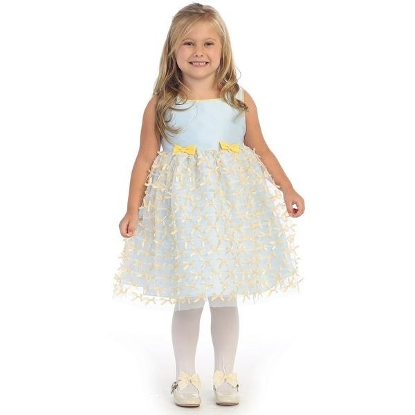 Angels Garment Baby Girls Blue Poly Dupioni Ribbon Mesh Easter Dress 18-24M