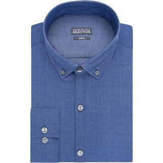 Kenneth Cole Reaction Mens Button-Down Shirt Slim Fit Pattern