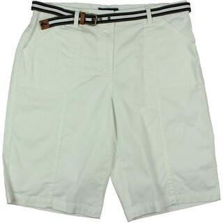 Karen Scott Womens Flat Front Solid Bermuda Shorts