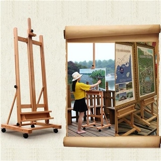 DHJ-02 360-Degree Spinner Wheel Red Beech Wood Rolling Easel Wood